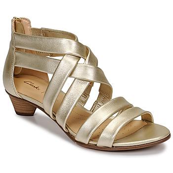Čevlji  Ženske Sandali & Odprti čevlji Clarks MENA SILK Champagne