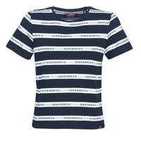 Oblačila Ženske Majice s kratkimi rokavi Superdry COTE STRIPE TEXT TEE Modra