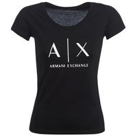 Oblačila Ženske Majice s kratkimi rokavi Armani Exchange HELBATANTE Črna