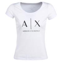 Oblačila Ženske Majice s kratkimi rokavi Armani Exchange HELIAK Bela