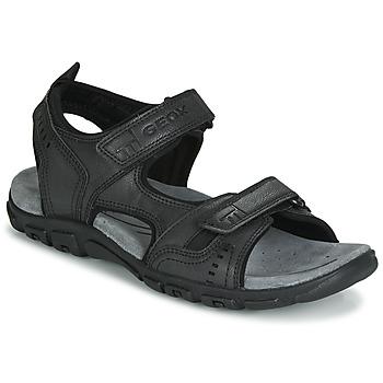 Čevlji  Moški Športni sandali Geox UOMO SANDAL STRADA Črna
