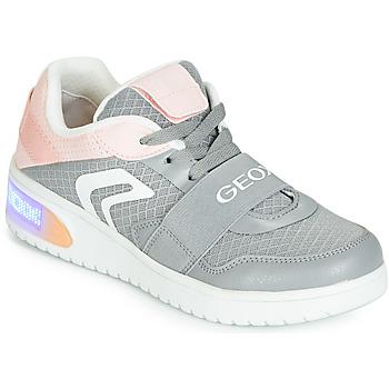 Čevlji  Deklice Visoke superge Geox J XLED GIRL Siva / Rožnata / Led