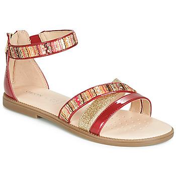 Čevlji  Deklice Sandali & Odprti čevlji Geox J SANDAL KARLY GIRL Rdeča / Zlata
