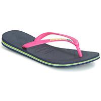 Čevlji  Ženske Japonke Havaianas SLIM BRASIL LOGO Pink