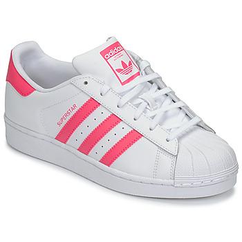 Čevlji  Deklice Nizke superge adidas Originals SUPERSTAR J Bela / Rožnata