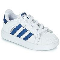 Čevlji  Otroci Nizke superge adidas Originals SUPERSTAR EL Bela / Modra