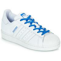 Čevlji  Deklice Nizke superge adidas Originals SUPERSTAR J Bela / Modra