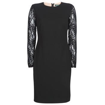Oblačila Ženske Kratke obleke Lauren Ralph Lauren LACE PANEL JERSEY DRESS Črna