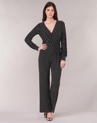 Oblačila Ženske Kombinezoni Lauren Ralph Lauren POLKA DOT WIDE LEG JUMPSUIT Črna / Bela