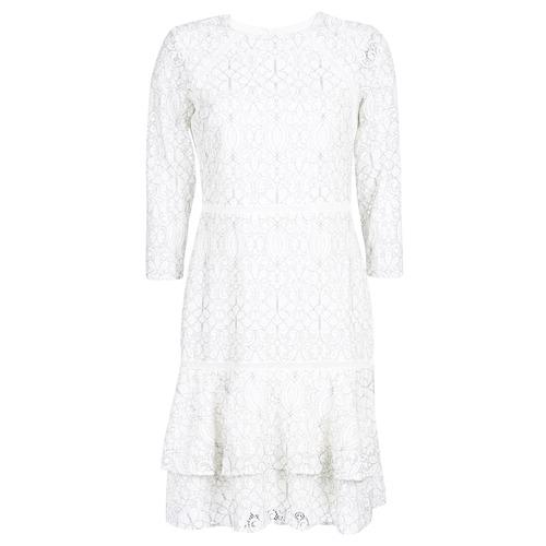 Oblačila Ženske Kratke obleke Lauren Ralph Lauren LONG SLEEVE-LACE DAY DRESS Bela / Črna