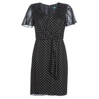 Oblačila Ženske Kratke obleke Lauren Ralph Lauren POLKA DOT-SHORT SLEEVE-DAY DRESS Črna