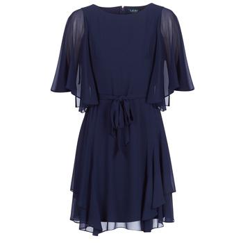 Oblačila Ženske Kratke obleke Lauren Ralph Lauren NAVY-3/4 SLEEVE-DAY DRESS Modra