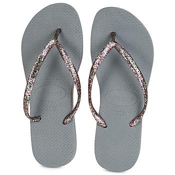 Čevlji  Ženske Japonke Havaianas SLIM LOGO METALLIC Siva