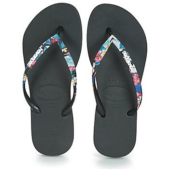 Čevlji  Ženske Japonke Havaianas SLIM STRAPPED Črna