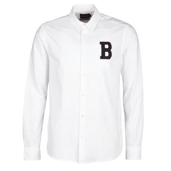 Oblačila Moški Srajce z dolgimi rokavi Scotch & Soda REGULAR FIT AMS BLAUW OXFORD SHIRT WITH BADGE Bela
