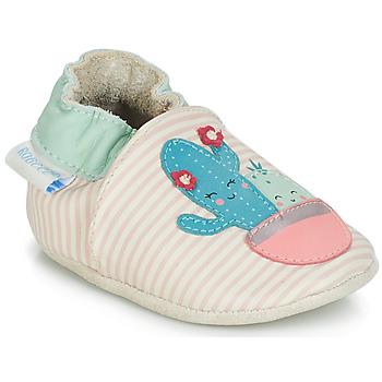 Čevlji  Deklice Nogavice za dojenčke Robeez CACTUS Kremno bela / Rožnata