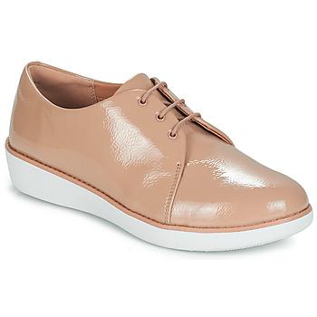 Čevlji  Ženske Čevlji Derby FitFlop DERBY CRINKLE PATENT Taupe