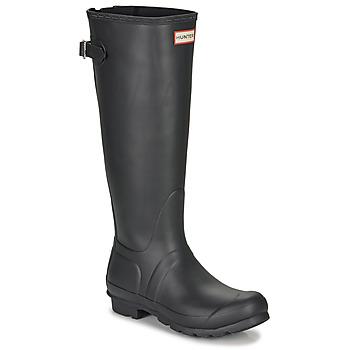 Čevlji  Ženske škornji za dež  Hunter ORIGINAL BACK ADJUSTABLE Črna