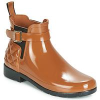Čevlji  Ženske škornji za dež  Hunter REFINED GLOSS QUILT CHELSEA Kamel