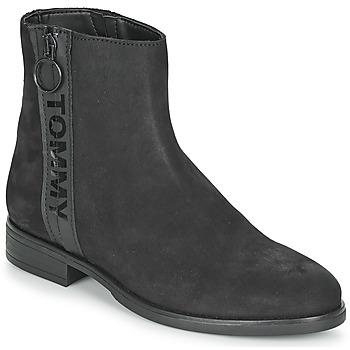 Čevlji  Ženske Polškornji Tommy Jeans TOMMY JEANS ZIP FLAT BOOT Črna