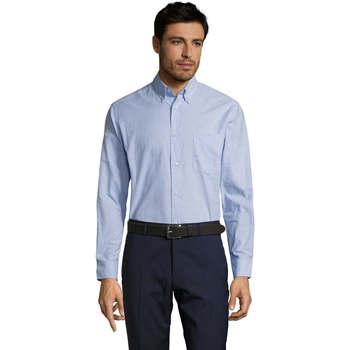 Oblačila Moški Srajce z dolgimi rokavi Sols BOSTON STYLE OXFORD Azul