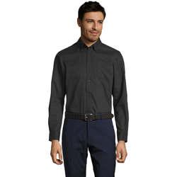 Oblačila Moški Srajce z dolgimi rokavi Sols BEL-AIR TWILL MEN Negro