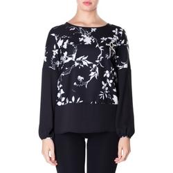 Oblačila Ženske Srajce & Bluze Luckylu BLUSA CREPE STAMPATO 0714-bianco-nero