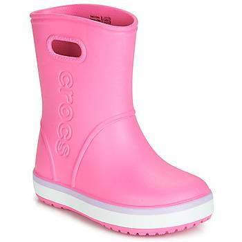 Čevlji  Deklice škornji za dež  Crocs CROCBAND RAIN BOOT K Rožnata