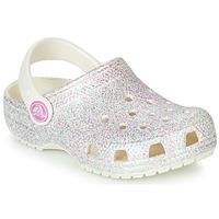 Čevlji  Deklice Cokli Crocs CLASSIC GLITTER CLOG K Bela