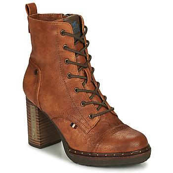Čevlji  Ženske Gležnjarji Mustang 1336502 Cognac