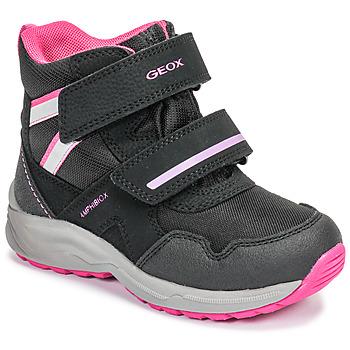 Čevlji  Deklice Škornji za sneg Geox J KURAY GIRL B ABX Črna / Rožnata