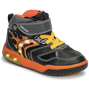 Čevlji  Dečki Visoke superge Geox J INEK BOY Črna / Oranžna