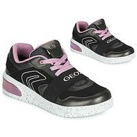 Čevlji  Deklice Visoke superge Geox J XLED GIRL Črna / Rožnata / Led