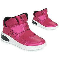 Čevlji  Deklice Visoke superge Geox J XLED GIRL Rožnata / Fuksija / Črna / Led