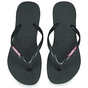 Čevlji  Ženske Japonke Havaianas SLIM LOGO METALLIC Črna