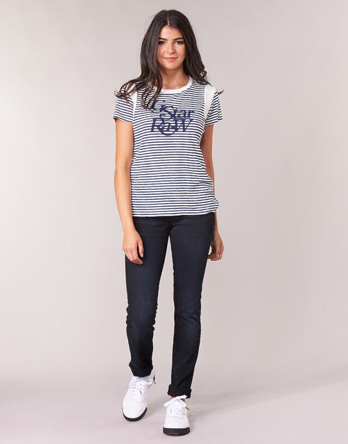 Oblačila Ženske Jeans straight G-Star Raw MIDGE MID STRAIGHT WMN Modra / Tmavá / Vintage
