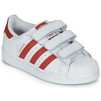 Čevlji  Otroci Nizke superge adidas Originals SUPERSTAR CF C Bela / Rdeča