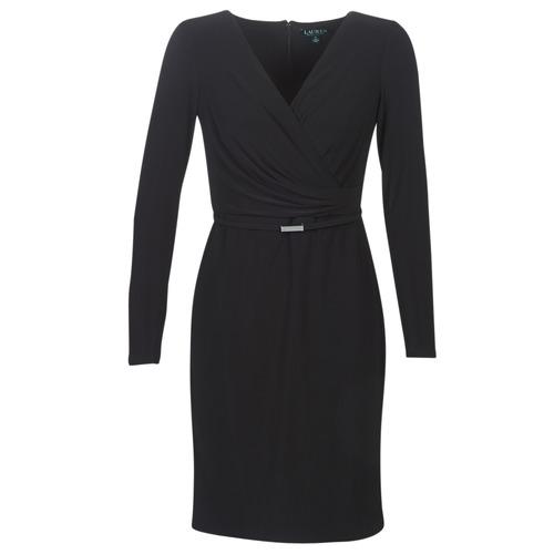 Oblačila Ženske Kratke obleke Lauren Ralph Lauren ALEXIE Črna