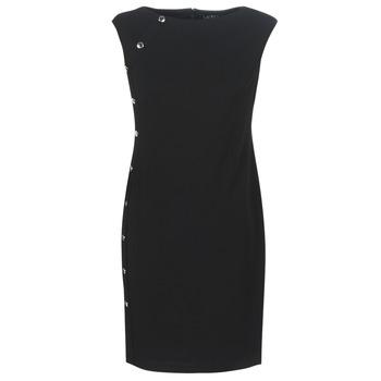 Oblačila Ženske Kratke obleke Lauren Ralph Lauren BUTTON-TRIM CREPE DRESS Črna