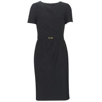 Oblačila Ženske Dolge obleke Lauren Ralph Lauren BELTED SHORT SLEEVE DRESS Črna