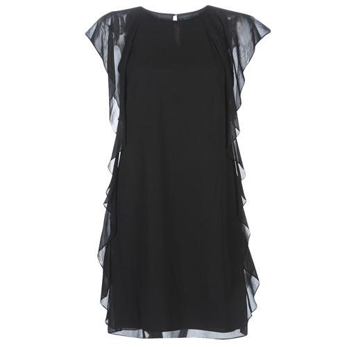 Oblačila Ženske Kratke obleke Lauren Ralph Lauren RUFFLED GEORGETTE DRESS Črna