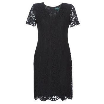 Oblačila Ženske Kratke obleke Lauren Ralph Lauren SCALLOPED LACE DRESS Črna