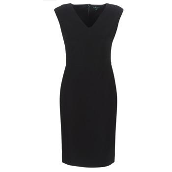 Oblačila Ženske Dolge obleke Lauren Ralph Lauren BLACK CAP SLEEVE DAY DRESS Črna