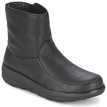 Čevlji  Ženske Gležnjarji FitFlop LOAFF SHORTY ZIP BOOT Črna