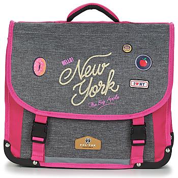 Torbice Deklice Šolska torba Back To School POL FOX NEW YORK CARTABLE 38 CM Siva / Rožnata