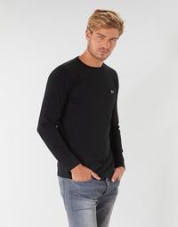 Oblačila Moški Majice z dolgimi rokavi Lacoste TH6712 Črna
