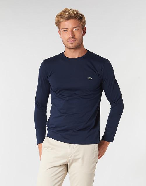 Oblačila Moški Majice z dolgimi rokavi Lacoste TH6712 Modra