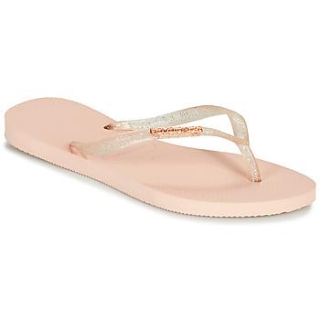 Čevlji  Ženske Japonke Havaianas SLIM LOGO METALLIC Rožnata
