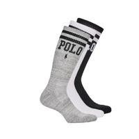 Dodatki  Moški Nogavice Polo Ralph Lauren 3PK DBLE BAR-CREW-3 PACK Bela / Siva / Črna