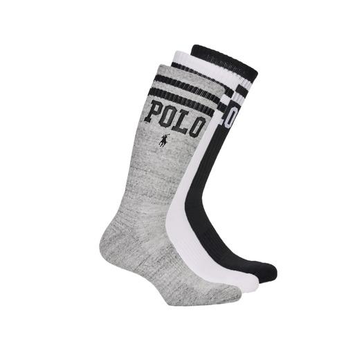 Tekstilni dodatki Moški Nogavice Polo Ralph Lauren 3PK DBLE BAR-CREW-3 PACK Bela / Siva / Črna